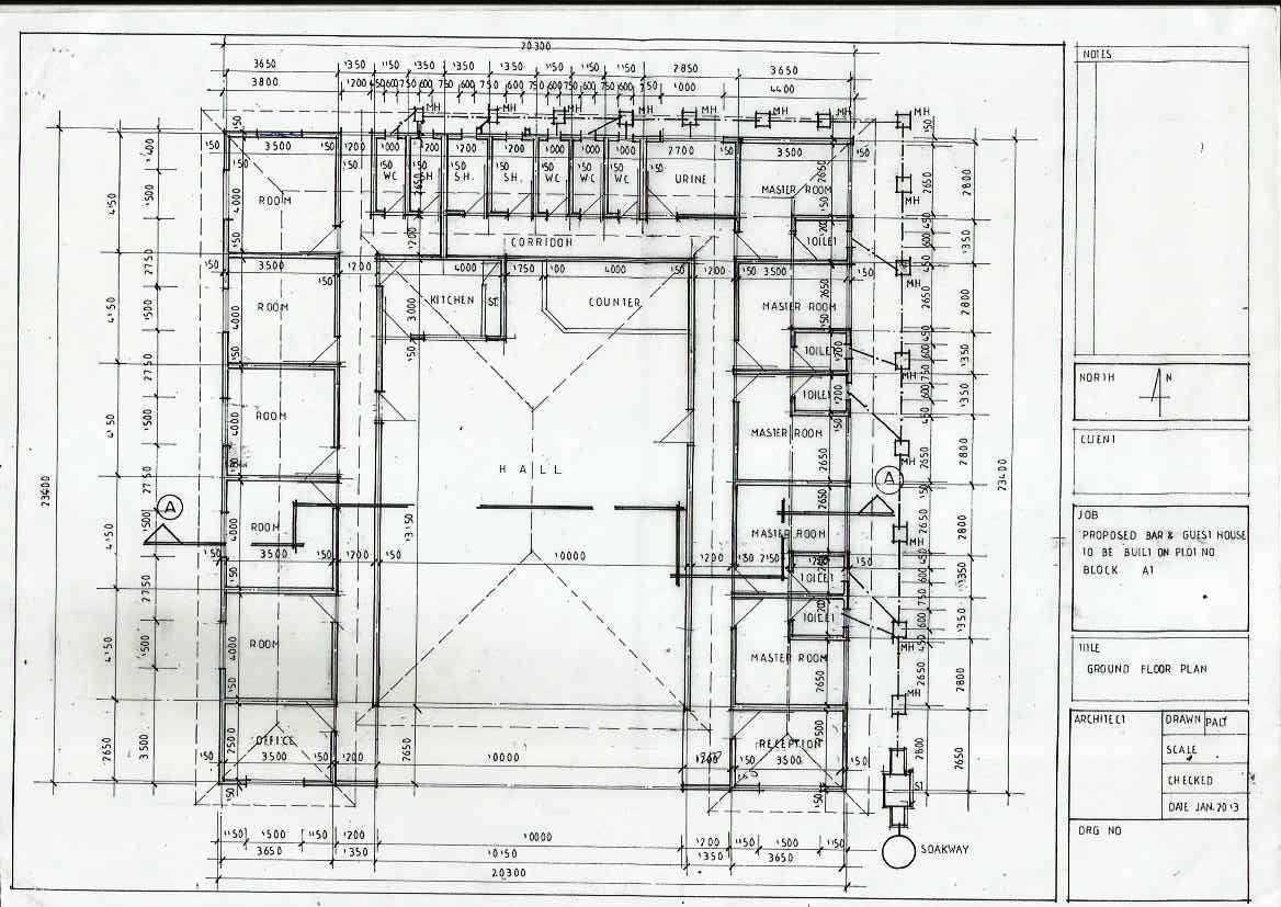 House plan for bar and guest house create the future for Guest house floor plan